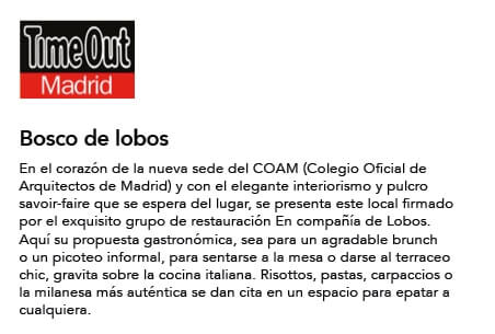 Bosco de Lobos en Time Out Madrid